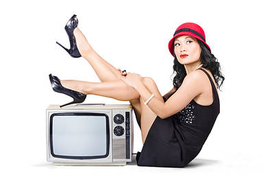 Lovely Asian Pinup Girl Posing On Vintage Tv Set Poster