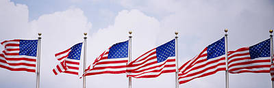 Low Angle View Of American Flags Poster by Panoramic Images