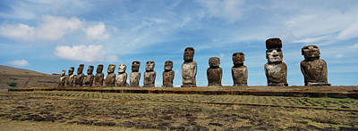 Low Angle View Of Moai Statues Poster