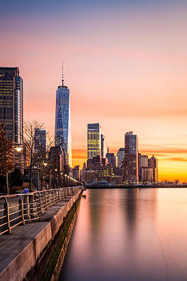 Lower Manhattan At Sunset Poster