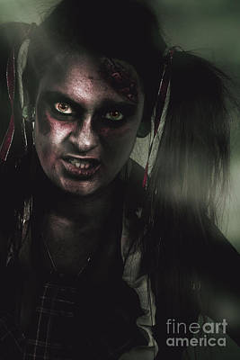 Mad Zombie Schoolgirl In Green Twilight Nightmare Poster by Jorgo Photography - Wall Art Gallery