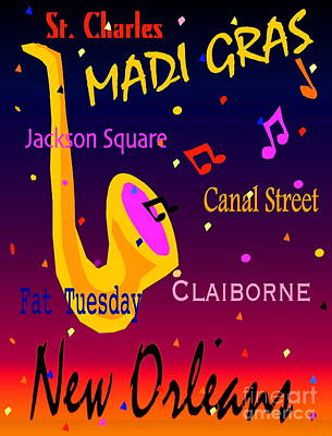 Madi Gras Poster by Gayle Price Thomas