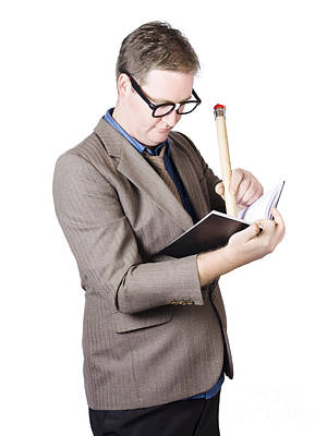 Male Business Nerd Writing Strategy In Note Book Poster