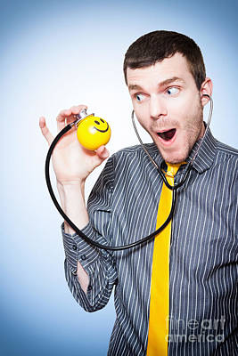 Male Doctor Making Health Fun For Sick Kids Poster by Jorgo Photography - Wall Art Gallery