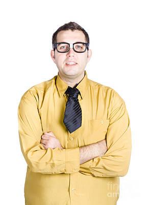 Male Nerd In Glasses White Background Poster