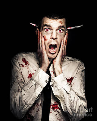 Male Zombie Businessman Displaying Shock Horror Poster