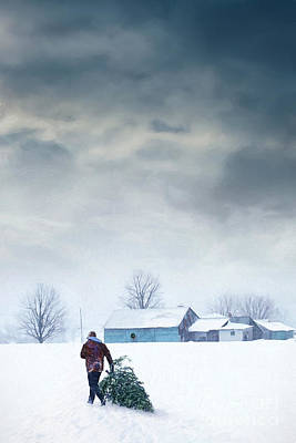 Man Carrying Tree For Christmas/digital Painting Poster by Sandra Cunningham