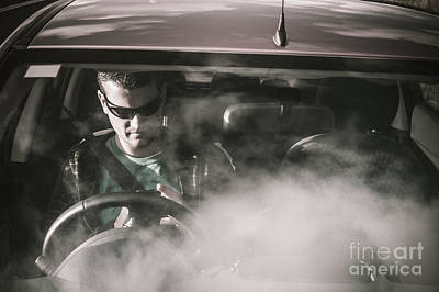 Man Sitting In Broken Down Car With Smoke Poster