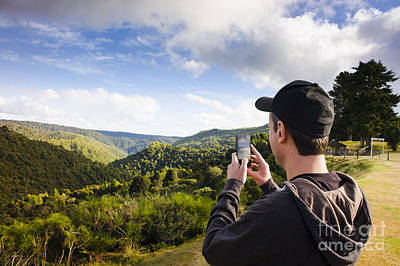 Man Taking Mountain Photo Of Tarkine Reserve Poster by Jorgo Photography - Wall Art Gallery