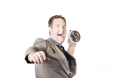 Man Throwing Time Out Window With Chucking Clock Poster