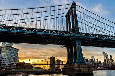 Manhattan And Brooklyn Bridges Poster by F. M. Kearney
