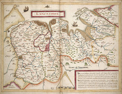 Map Of Lancashire Poster by British Library
