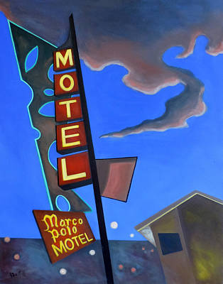 Poster featuring the painting Marco Polo Motel by Sally Banfill
