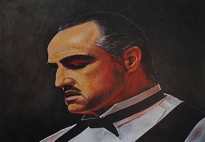 Poster featuring the painting Marlon Brando The Godfather by David Dunne