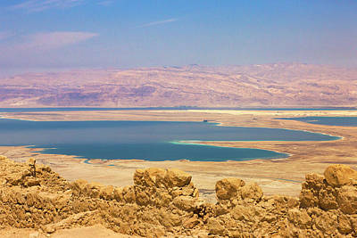 Masada Ruins Overlooking The Dead Sea Poster by Keren Su