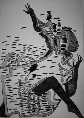 Poster featuring the drawing Mbakumba Dance - Zimbabwe by Gloria Ssali