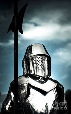 Medieval Knight Holding Weapon Poster