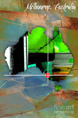 Melbourne Australia Map Watercolor. Poster