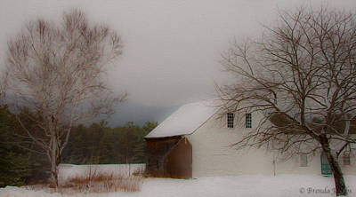 Poster featuring the photograph Melvin Village Barn In Winter by Brenda Jacobs