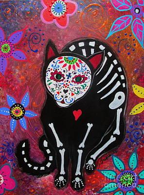 Meow Dia De Los Muertos Poster by Pristine Cartera Turkus