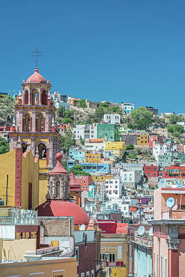 Mexico, Rooftop View Of Guanajuato Poster by Rob Tilley