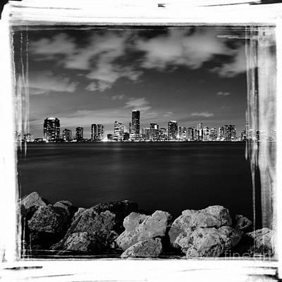 Miami Skyline At Night Poster by Carsten Reisinger