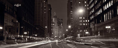 Michigan Avenue Chicago Bw Poster by Steve Gadomski