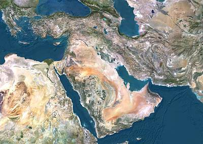 Middle East, Satellite Image Poster