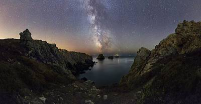 Milky Way Over Coastal Rocks Poster by Laurent Laveder