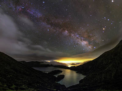Milky Way Over Lagoa Do Fogo Poster