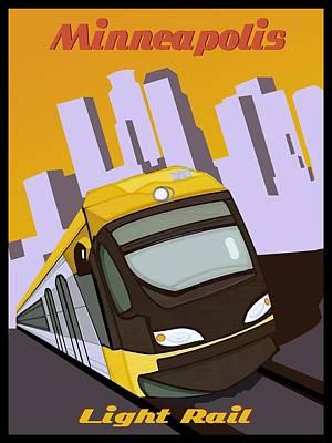 Minneapolis Light Rail Travel Poster Poster