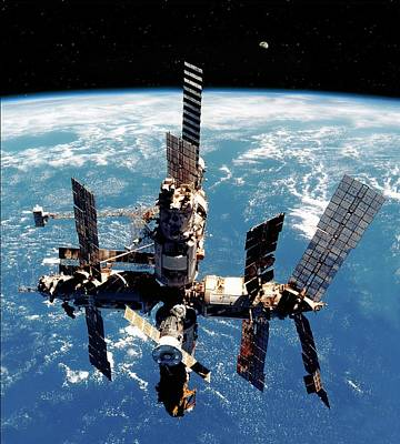 Mir Space Station In Orbit Poster by Detlev Van Ravenswaay