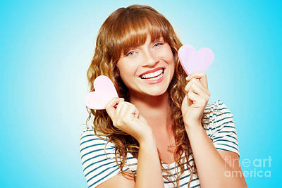 Mischievous Valentine Girl Holding Two Love Hearts Poster