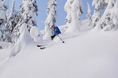 Mistie Fortin Skis Powder At Whitefish Poster by Chuck Haney