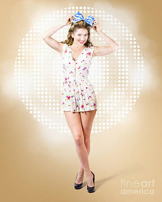 Modelling Pinup Girl Wearing Bow Hair Accessory Poster by Jorgo Photography - Wall Art Gallery