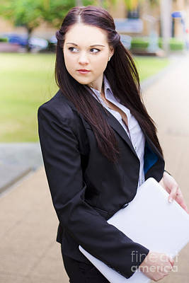 Modern Business Woman With Laptop Poster by Jorgo Photography - Wall Art Gallery
