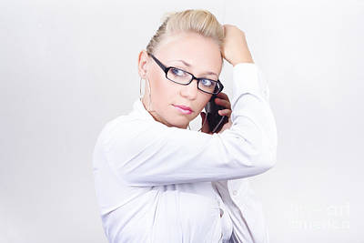 Modern Executive Businesswoman On Smartphone Poster by Jorgo Photography - Wall Art Gallery