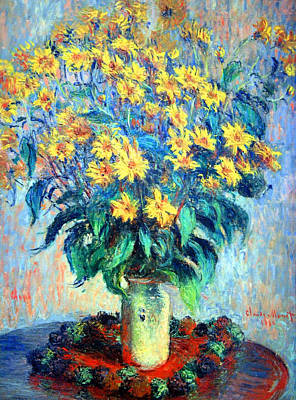 Poster featuring the photograph Monet's Jerusalem  Artichoke Flowers by Cora Wandel