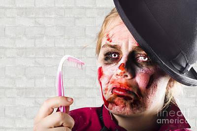 Monster Holding Sad Toothbrush. Rotting Teeth Poster