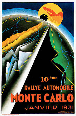 Monte Carlo Rallye Automobile Poster by Vintage Automobile Ads and Posters