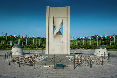 Monument With Flags At The Olympic Poster by Michael Runkel