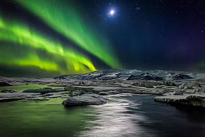 Moon And Aurora Borealis, Northern Poster by Panoramic Images