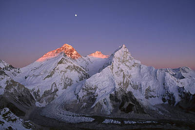 Poster featuring the photograph Moon Over Mount Everest Summit by Grant  Dixon