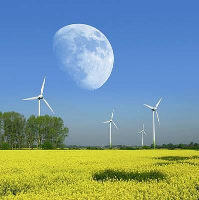 Moon Over Wind Turbines In A Field Poster by Detlev Van Ravenswaay