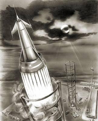 Moon Rocket Launch, 1950s Artwork Poster by Detlev van Ravenswaay