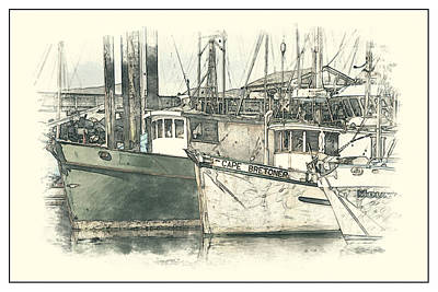 Moored Fishing Boats Poster