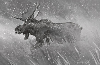 Poster featuring the digital art Moose Sketch by Aaron Blaise