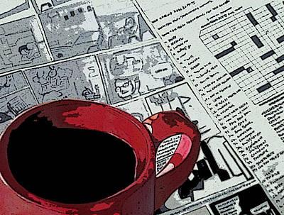 Coffee/tea And Newspaper Poster by Anuradha Gupta