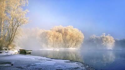 Morning Fog And Rime In Kuerbin Poster