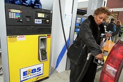 Motorist Using Ethanol Fuel Poster